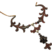 Antique Ornate Garnet Necklace Rolled Gold ~ Art Nouveau c1900 ~ Stunning