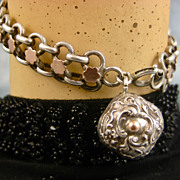 SOLD French Antique Silver & Gold Bracelet ~ L' Argent et Or Francais ~ c1890