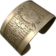 REDUCED Fine Vintage French Silver Cuff Bracelet ~ c1930