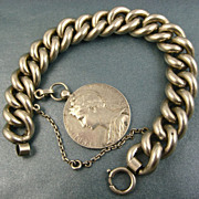 SOLD Art Nouveau French Silver Bracelet & 1905 Medallion Charm ~  Heavy & Superb