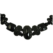 SOLD Rare Antique Carved Whitby Jet & French Jet Necklace ~ c1860