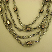 SOLD French Antique 19th Century Silver & Gold Sautoir Long Guard Chain ~ c1860s