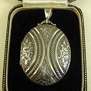 SOLD Superb Antique Victorian English Sterling Silver Locket ~ c1881