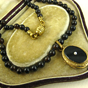 SOLD Superb French Napoléon III Onyx & Pearl Locket Necklace ~ c1870