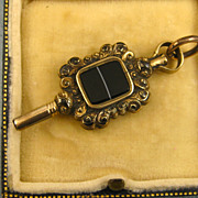 SOLD Antique Victorian English 14K Gold Agate Watch Key Fob ~ c1860