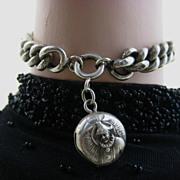SOLD Rare Art Nouveau French Sterling Chain Bracelet & Pierrot breloque Charm ~ c1890