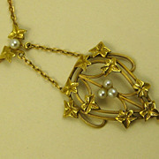 SOLD French Belle Epoque Era 18 Carat Gold Antique Repoussé Pendant Necklace ~ c1890s