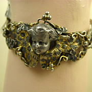 SOLD Rare French Napoléon 111 Winged Angel Silver & Vermeil Bracelet ~ c1850