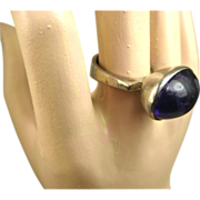 REDUCED Vintage Danish Modernist Amethyst & Silver Ring ~ 1960s
