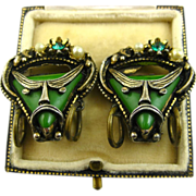 REDUCED Selro Rare Superb Unsigned Pirate Earrings ~ 1950s