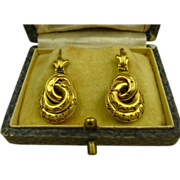 SOLD Superb Antique 15K Gold Victorian Etruscan Revival Earrings ~ c1870