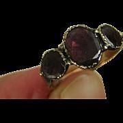 SOLD Superb Georgian Rose Gold Three Almandine Garnet Ring ~ c1820