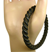 Antique Napoléon 111 Era Mourning Carved Ebony Bracelet ~ c1870