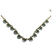 SALE Vintage Sky Blue Crystal 800 Silver Petite Necklace ~ c1940