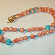 REDUCED Vintage Coral and Turquoise Necklace