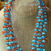 SALE Vintage Turquoise & Coral Necklace