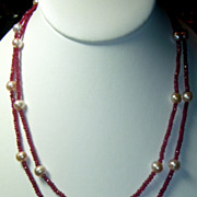 REDUCED Vintage Ruby & Pearl Necklace