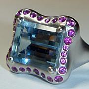 SALE NY Designer Donald Huber Vintage Aqua & Pink Sapphire Ring