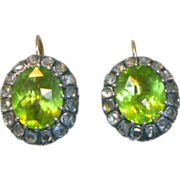 SOLD Antique Peridot and Rose Cut Diamond Earrings