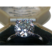 REDUCED Vintage Diamond 2.62 ct. Transitional-cut Solitaire Platinum Ring