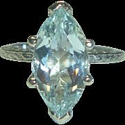 REDUCED Vintage Marquise-cut Aqua & 14K White Gold Ring