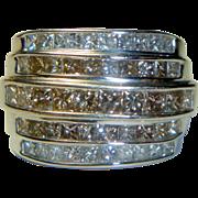 REDUCED Vintage 5 Row Princess-cut 3.30 ct. Diamond Band