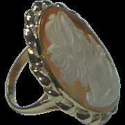 SALE Vintage Large 14K Cameo Ring