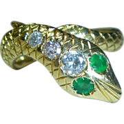 REDUCED Vintage Emerald, Diamond and 18K Snake Ring