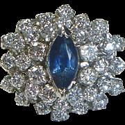 REDUCED Sapphire, Diamond & 14 K White Gold Cluster Ring