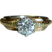 REDUCED Vintage Tri-color Mine-cut Half Carat Diamond Ring