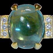 REDUCED Vintage Gump's Huge Cabochon Aqua, Diamond & 18k Ring