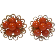 REDUCED Vintage 14K Gold and Mediterranean Coral Earrings