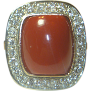 REDUCED Stunning Red Coral Diamond & 18K Rose Gold Ring