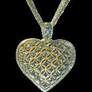 REDUCED Vintage 14K Large Gold Heart Necklace