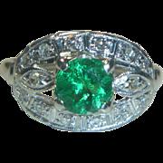 REDUCED Deco  Emerald  Diamond Platinum Ring