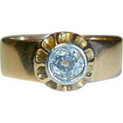 REDUCED Antique Edwardian Mine-cut Diamond & Rose Gold Ring