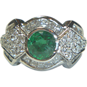 REDUCED Vintage Emerald, Diamond & 14K Ring