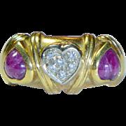 REDUCED Vintage Ruby, Diamond & 18K Italian Ring