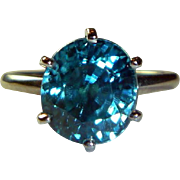 REDUCED Vintage Blue Zircon and Platinum Ring