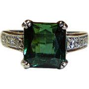 REDUCED Vintage Green Tourmaline, Diamond and Platinum Ring