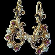 REDUCED Vintage Italian 18K Ruby & Cultured Pearl Earrings