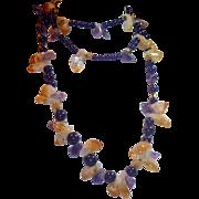 "REDUCED Natural Amethyst, Citrine, Ametrine Quartz Crystal 56"" L Necklace"