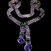 Vintage Amethyst and Blue Topaz Necklace
