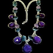 REDUCED Amethyst & Blue Topaz 14K Gold Necklace