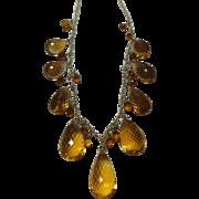 REDUCED Citrine Briolet and 14K Gold Necklace