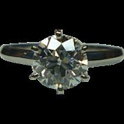 REDUCED European cut 1.42 ct. Diamond & Platinum Ring