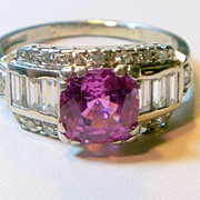 REDUCED Vintage Pink Sapphire & Diamond Platinum Ring