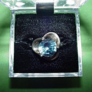 Vintage Sterling Ring with Blue Stone