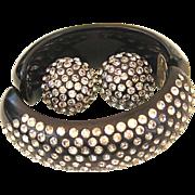 SALE Gorgeous Bakelite Clamper & Earrings Black with Lots of Sparkling Clear Rhinestones