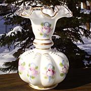 Fenton Charleton Roses & Bows Silver Crest Vase